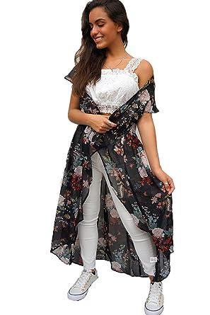 edf0ed0f3d19d Amazon.com: Joy & Ash Women's Distinguished Black Floral Print Kimono Cover  up: Clothing