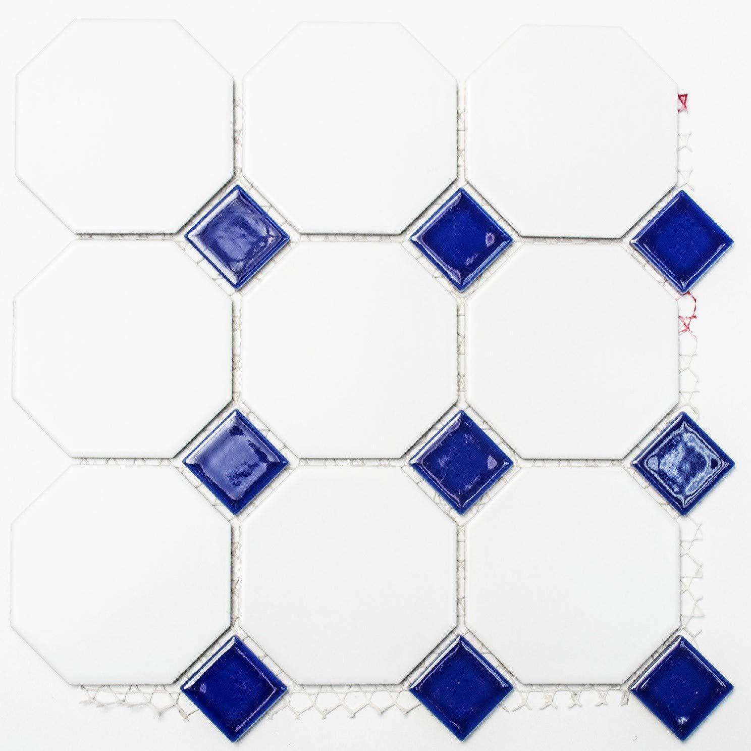 Fliesen Mosaik Mosaikfliese Keramik Schachbrett schwarz wei/ß matt 5mm NEU #255