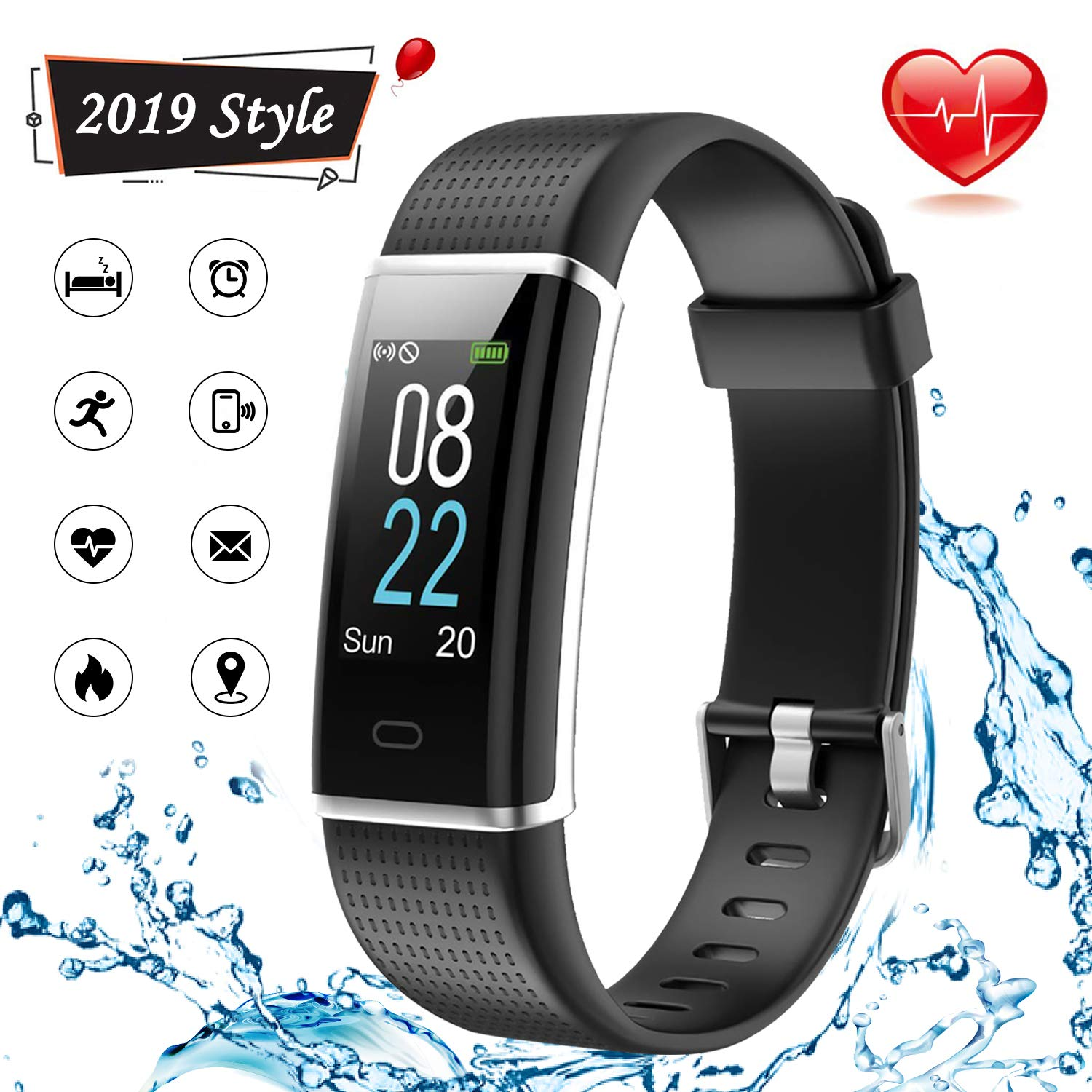 Lintelek Fitness Tracker, Color Screen Activity Tracker with Heart Rate Monitor