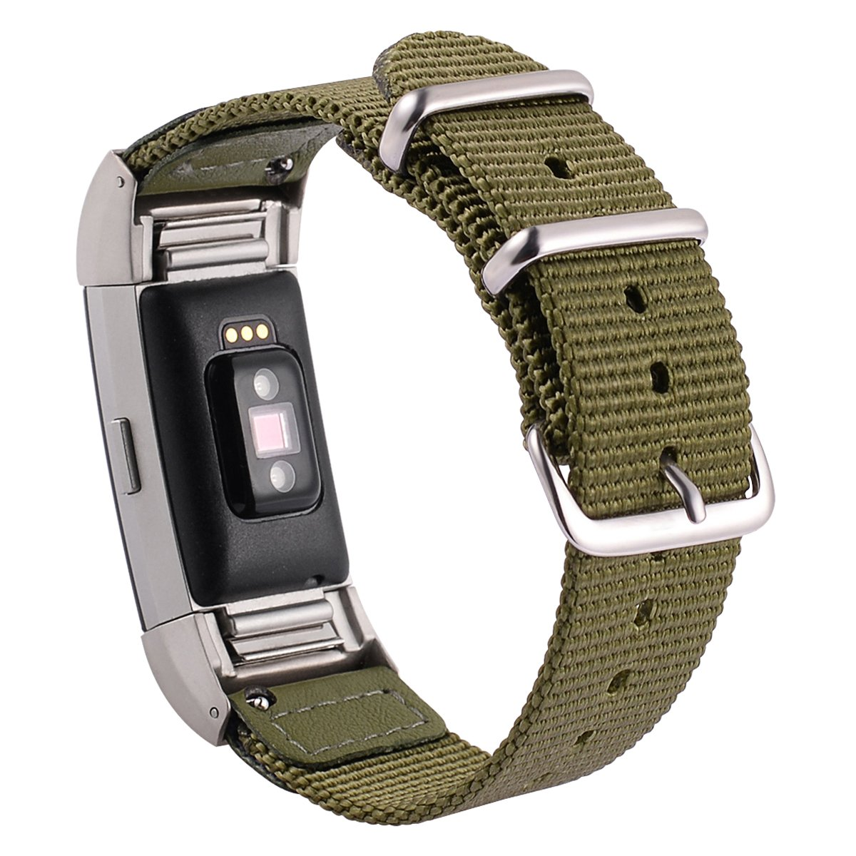 for Fitbit Charge 2 Bands Woven Nylon Sport Wristband Breathable Replacement Strap Bracelet Army Green