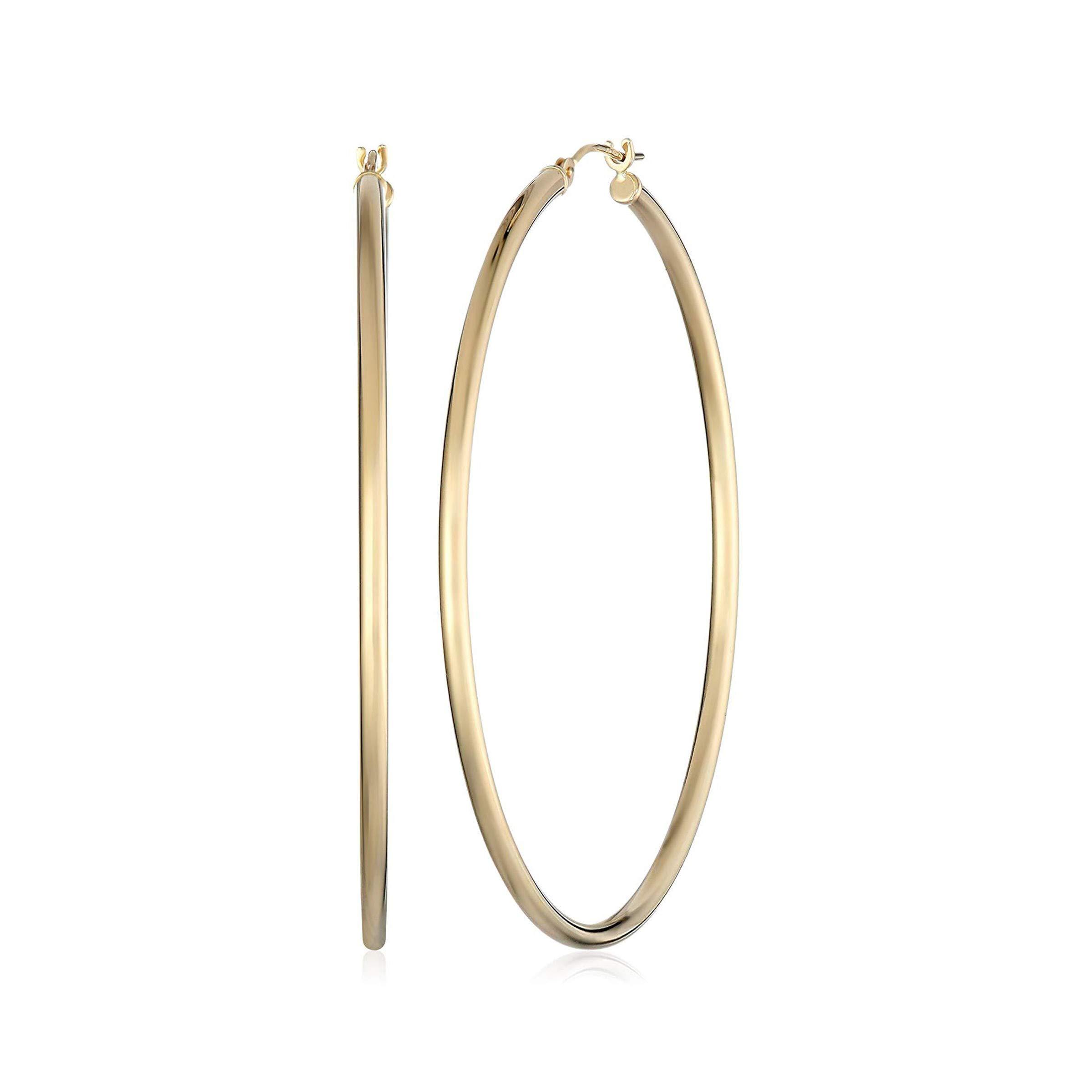 14k Yellow Gold Hoop Earrings (2'' Diameter) by Finecraft