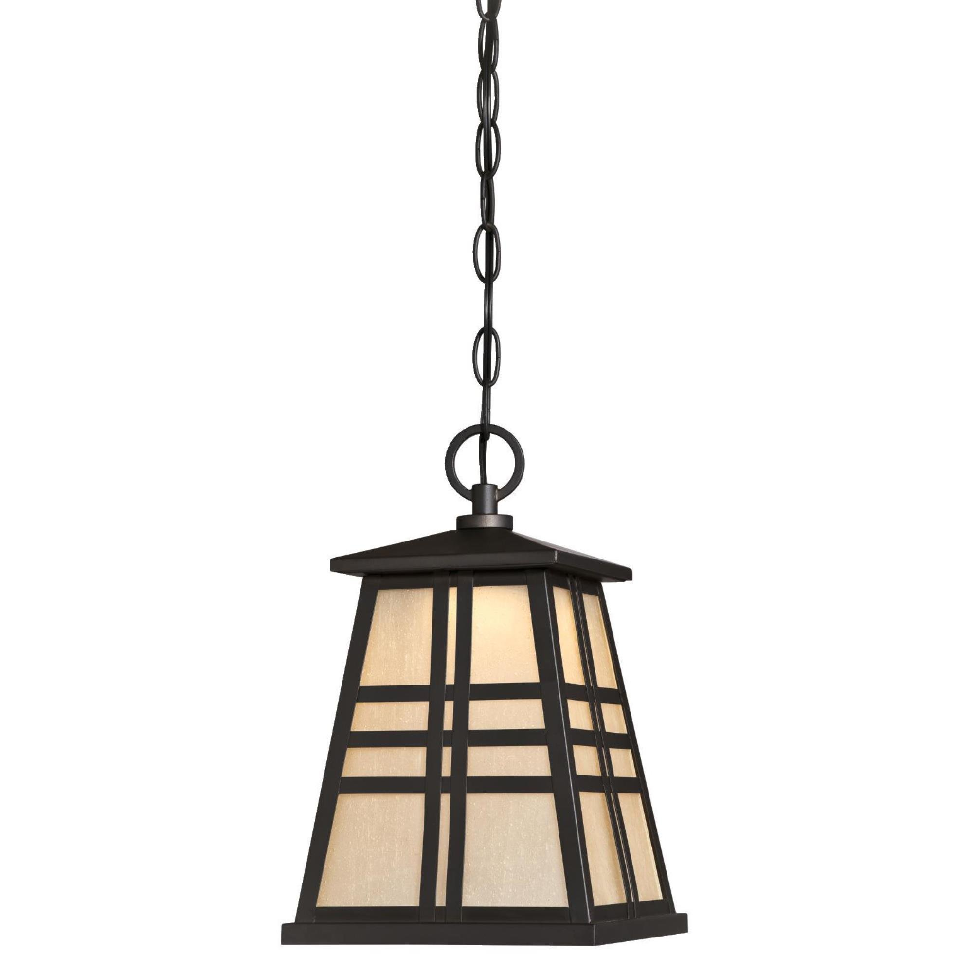 Westinghouse 6339800 Creekview One-Light LED Outdoor Pendant with Amber Frosted Seeded Glass, Oil Rubbed Bronze Finish by Westinghouse