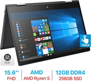 HP Envy x360 15.6'' Touchscreen 2-in-1 FHD (1920x1080) Laptop PC, Quad Core AMD Ryzen 5 2500U up to 3.6GHz, 12GB DDR4 SDRAM, 256GB SSD, Backlit Keyboard, B&O Play, HDMI, Bluetooth, Windows 10