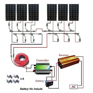 Amazon com : ECO-WORTHY Off Grid 1000 Watts Solar Panel Kit: 6pcs