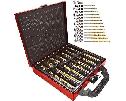 huge selection of e079c 5e5fb Lumberjack, set di 99 punte da trapano, punte da trapano di alta qualità,  in acciaio super rapido, con rivestimento in titanio, modello DBS99