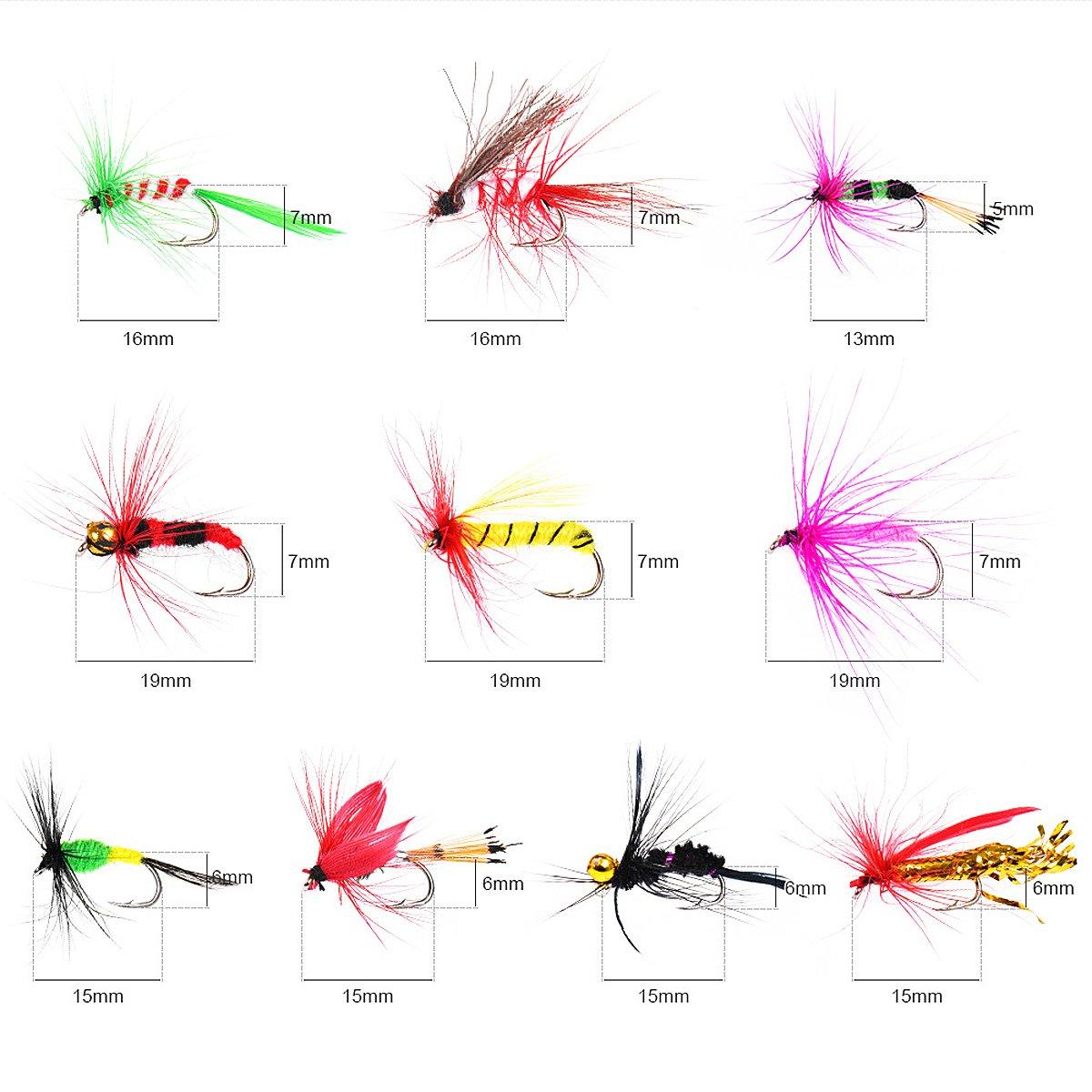 Kit de señuelos de pesca con mosca, 100 unidades, hecho a mano, con moscas secas y húmedas, anzuelos para cebo, truchas de bajo, pesca con mosca de salmón y ...