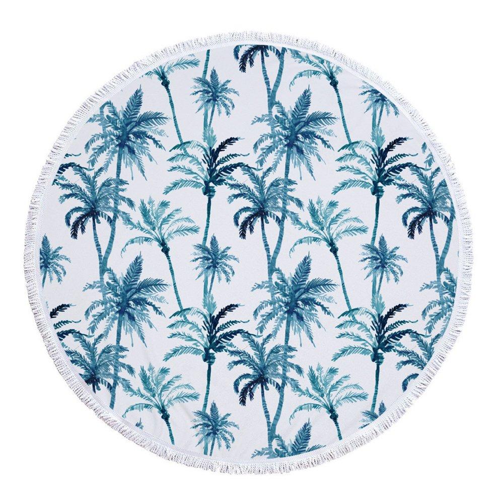 Azul o negra Coco palmera redondas Toallas con borlas Mandala Boho Hippie manta playa verano Flecos roundie playa wurfs Yoga alfombrillas Mantel de picnic, ...