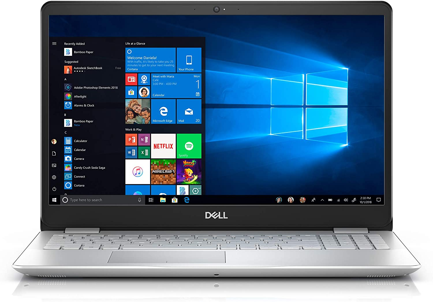 "Dell Inspiron 15 5000 Laptop, 15.6"" Full HD Screen, Intel Core i3-8145U Processor up to 3.90GHz, 4GB RAM, 256GB SSD, Backlit Keyboard, HDMI, Wireless-AC, Bluetooth, Windows 10, Silver"