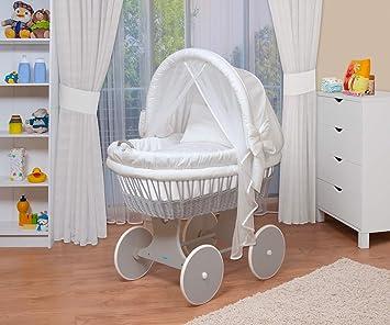 WALDIN Baby Bollerwagen,Stubenwagen,komplett Zubehör,Stoffe Gelb//Beige//kariert