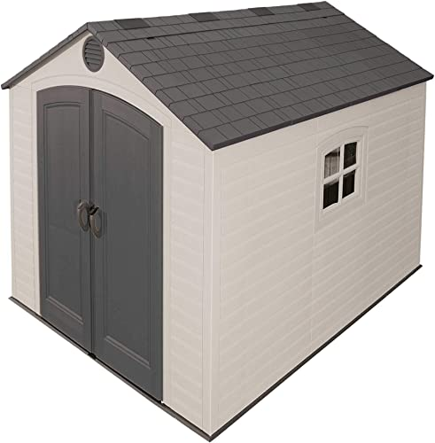 Lifetime 6405 Outdoor Storage Shed with Window, Skylights, and Shelving, 8 by 10 Feet