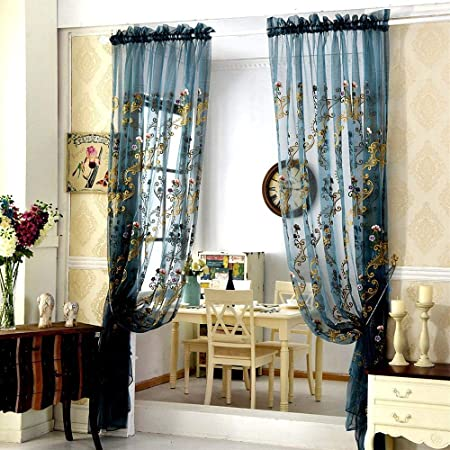 AiFish 1 Panel Sheer Curtain Panels 102 Inch Long Bedroom Embroidered Floral and Vine Rod Pocket Top Voile Curtains Home Decor Tulle Curtains Drapes Girls Window Treatment for Living Room, Dark Blue