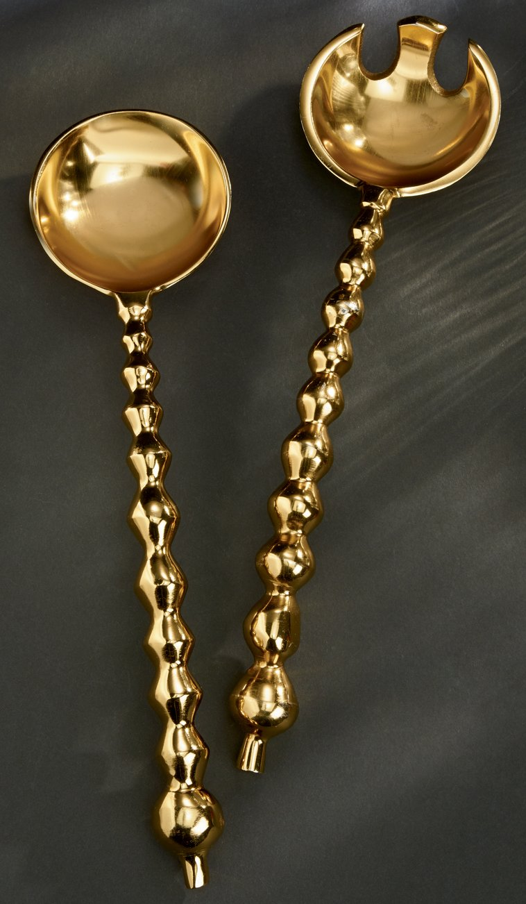 Large 13'' Gilded Beaded Serving Set by KINDWER