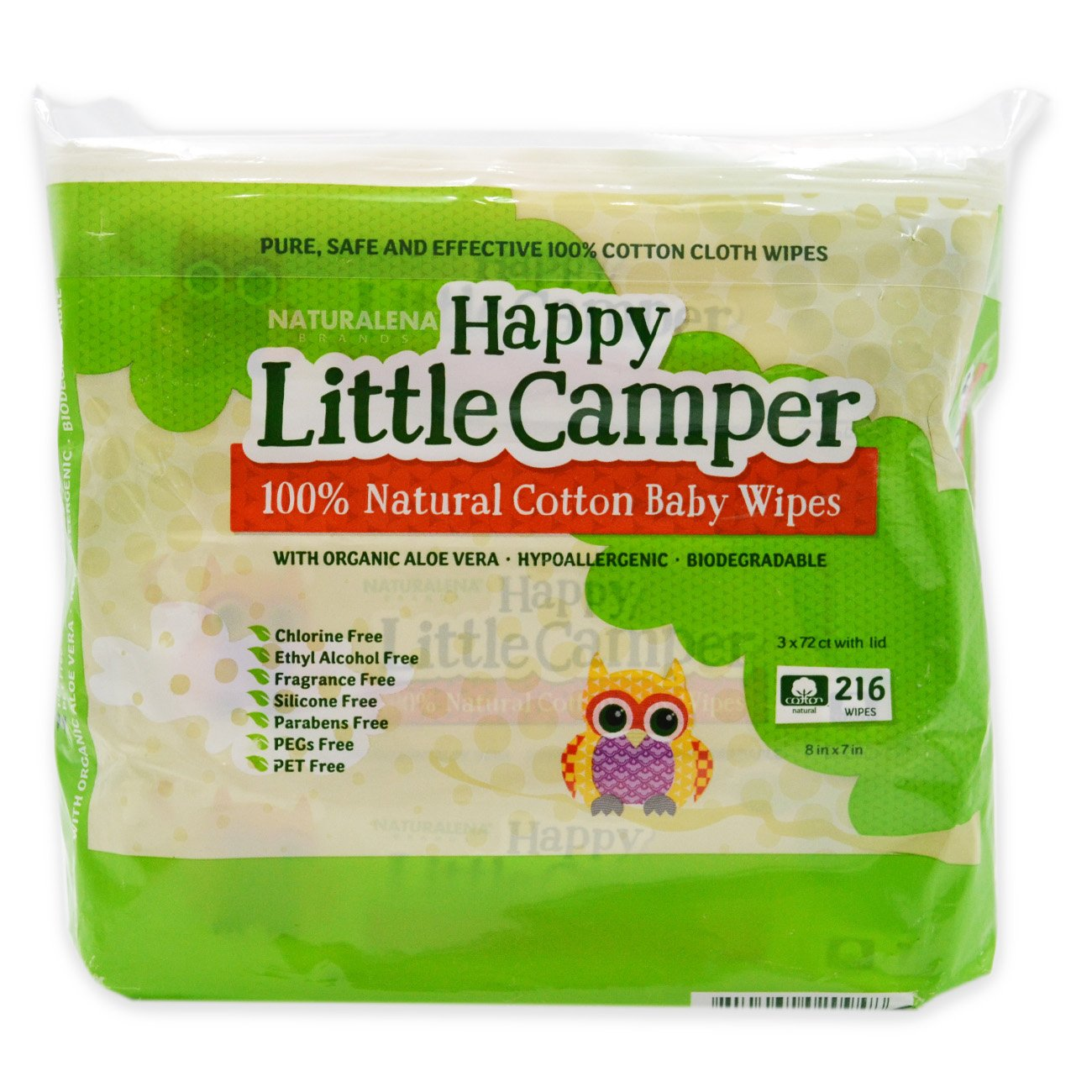 Happy Little Camper Baby Wipes Sensitive Skin 72 Count All-Cotton with Organic Aloe Natural