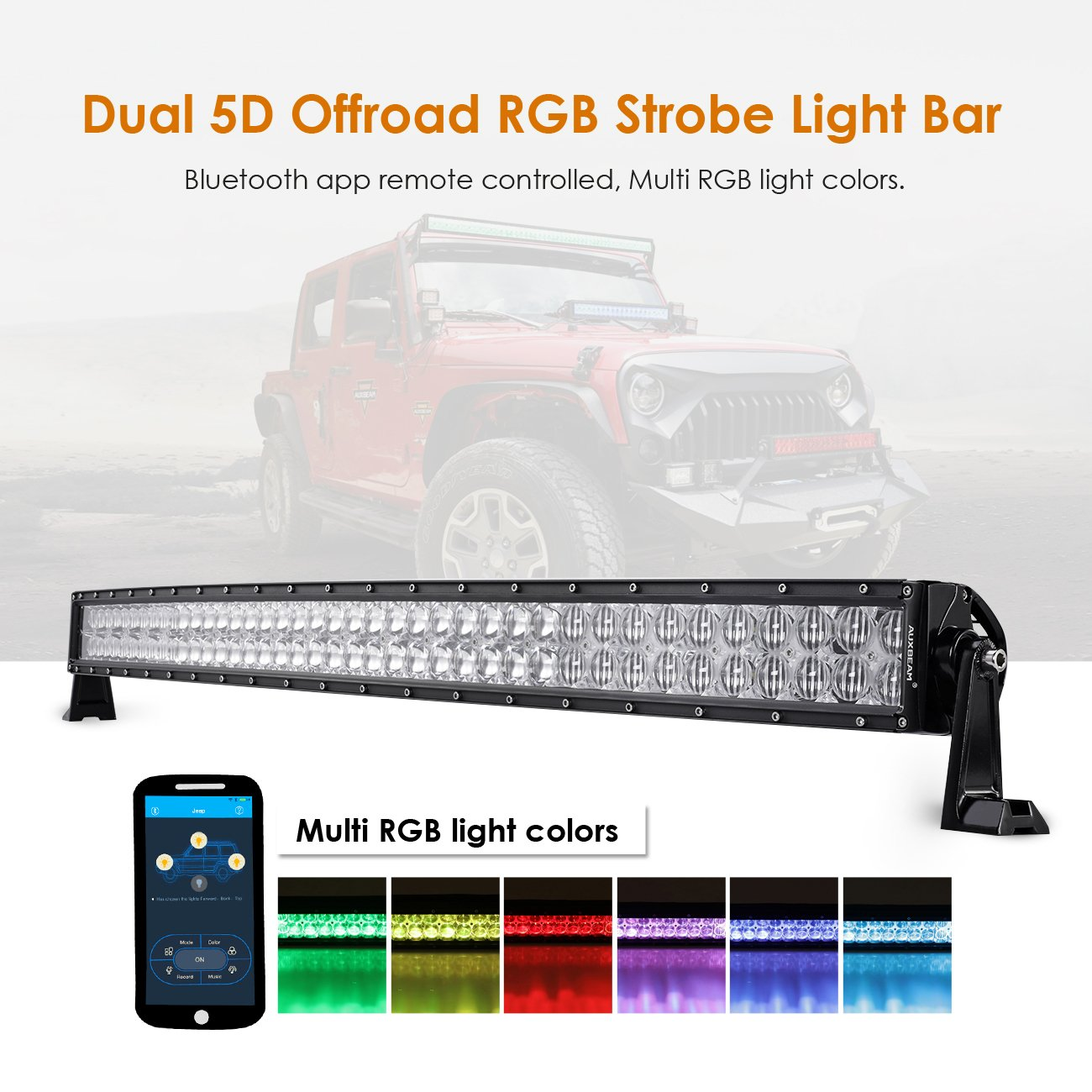 Auxbeam 42 Inch LED Light Bar RGB Multi-color Curved LED Bar 5D V Series 240W Off road Driving light CREE LEDs Spot Flood Combo Beam