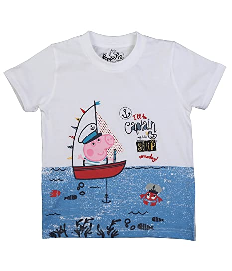 56ab710e Image Unavailable. Image not available for. Colour: Peppa Pig I'll Be Captain  George White T-Shirt ...