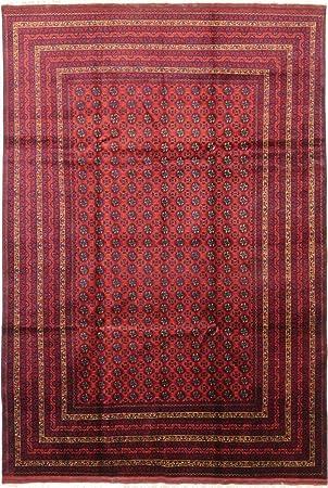Afghan Mauri 294x202 Tapis Oriental Marron Foncé/Rouge Noués à la ...