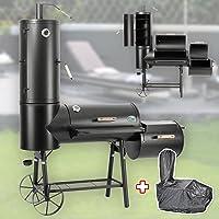 Smoker Grill-Set schwarz XXL Räuchergrill Garten ✔ Rollen ✔ Deckel ✔ Ablagefläche ✔ rund ✔ rollbar ✔ stehend grillen ✔ Grillen mit Holzkohle ✔ mit Station ✔ mit Rädern