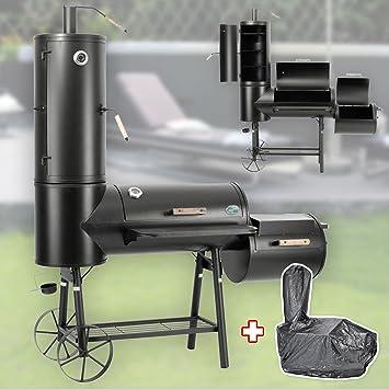130 kg profesional Smoker BBQ Barbacoa con carbón 3 – 5 mm Acero Vertical Campana