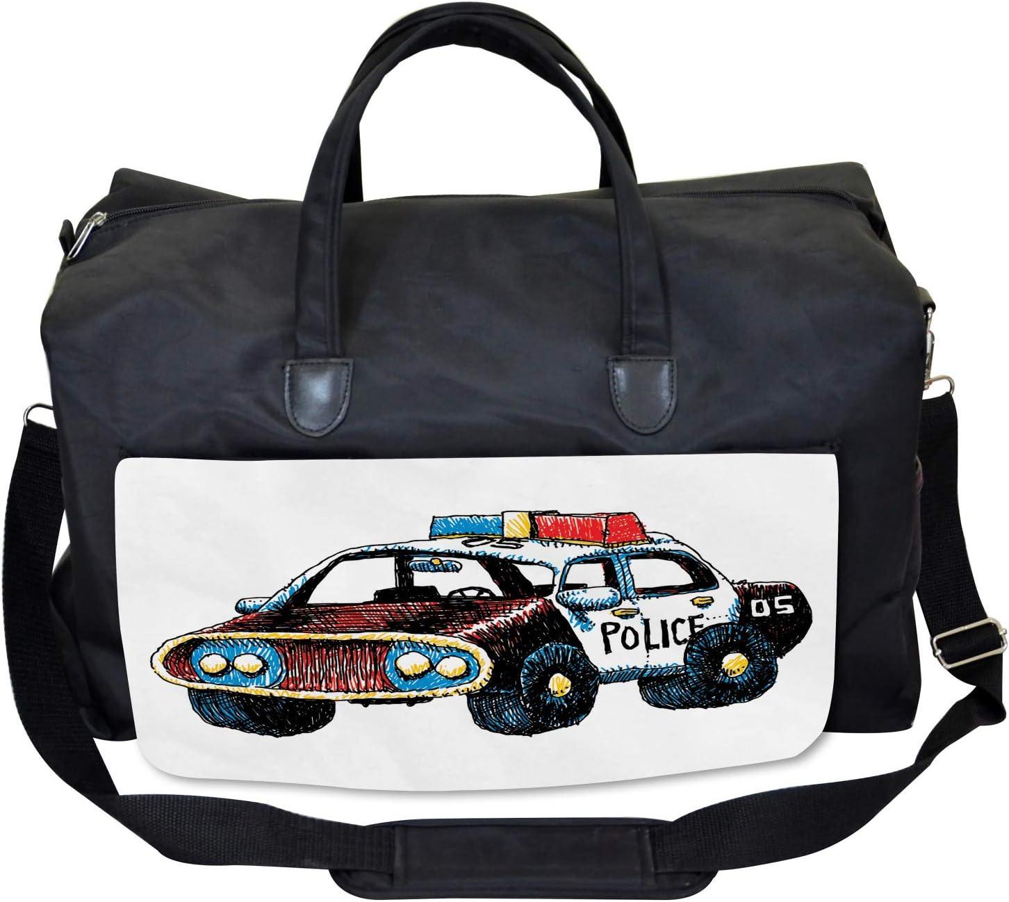 Sketchy Police Car Large Weekender Carry-on Ambesonne Cartoon Gym Bag
