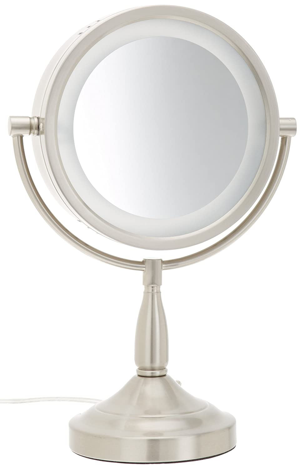 Amazon.com : Jerdon LT856N 8.5 Inch Lighted Vanity Mirror With 7x  Magnification, Nickel Finish : Personal Makeup Mirrors : Beauty