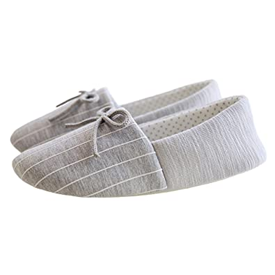 371ce84d4004 bestfur Elegant Bow Cozy Warm Cotton Soft Sole House Slippers Shoes for  Women Grey