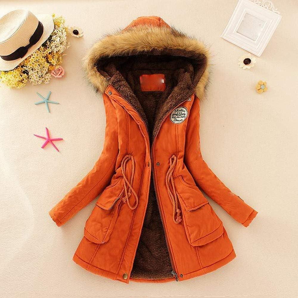 Ericcay Mantel Jacke Damen Herbst Winter Oversize Stilvolle Schwarz Warmer Pelzkragen Unikat Kapuzenjacke Hoodie Pullover Coats Outwear Mode 2019 Orange