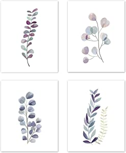 Kitchen Wall Art Eucalyptus Leaves Leaf Botanical Garden Watercolor Prints Posters Signs Room Decor - for Dining Room and Home Decor –(Set of 4) Unframed 8 x 10 inches Purple Green & Blue