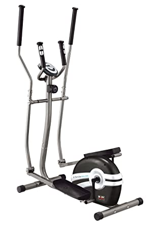 Elíptica de fitness (magnético, ritmo cardiaco, bajo impacto), color gris