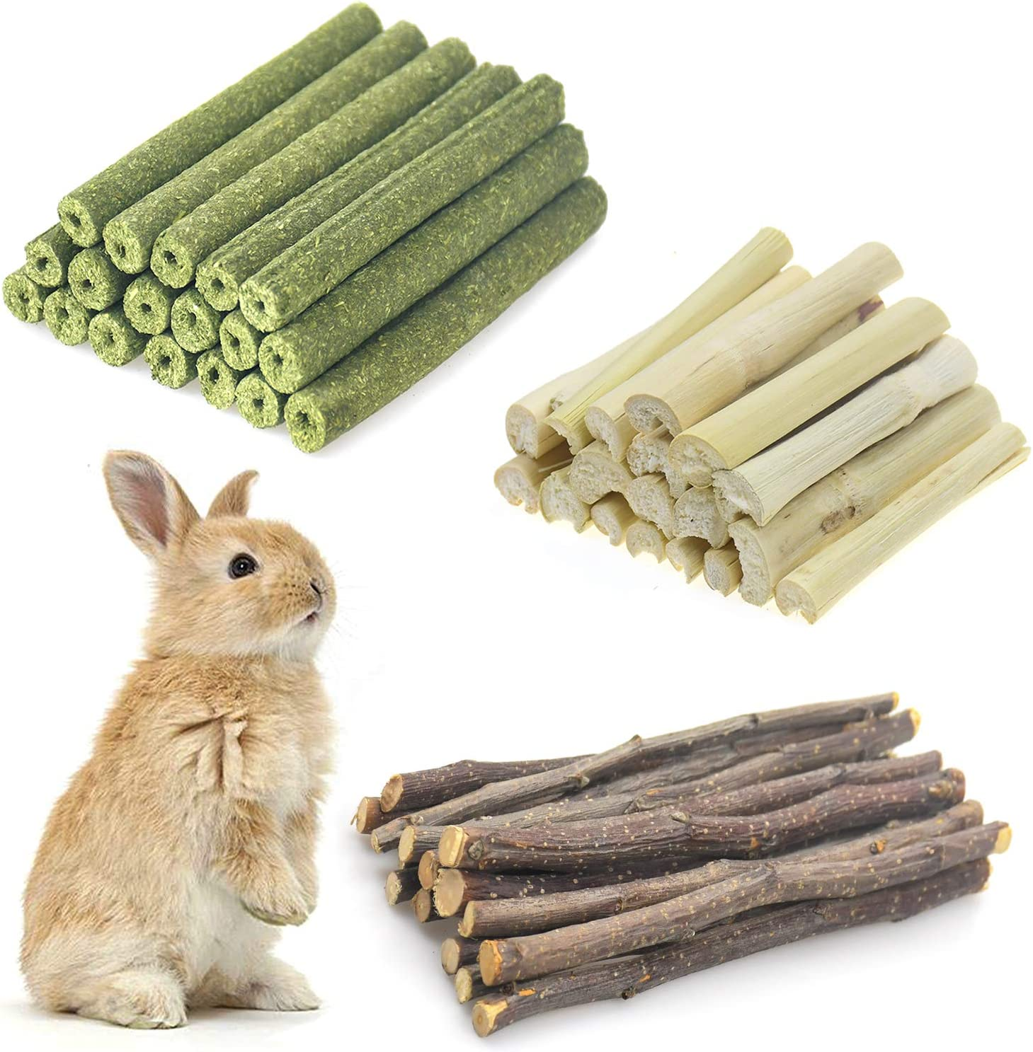 Changeary 150g and 300g Small Animals Chew Toys Molar Sticks, Apple Sticks Timothy Hay Sticks Sweet Bamboo Combined for Rabbit Chinchilla Guinea Pigs Squirrel Hamster …