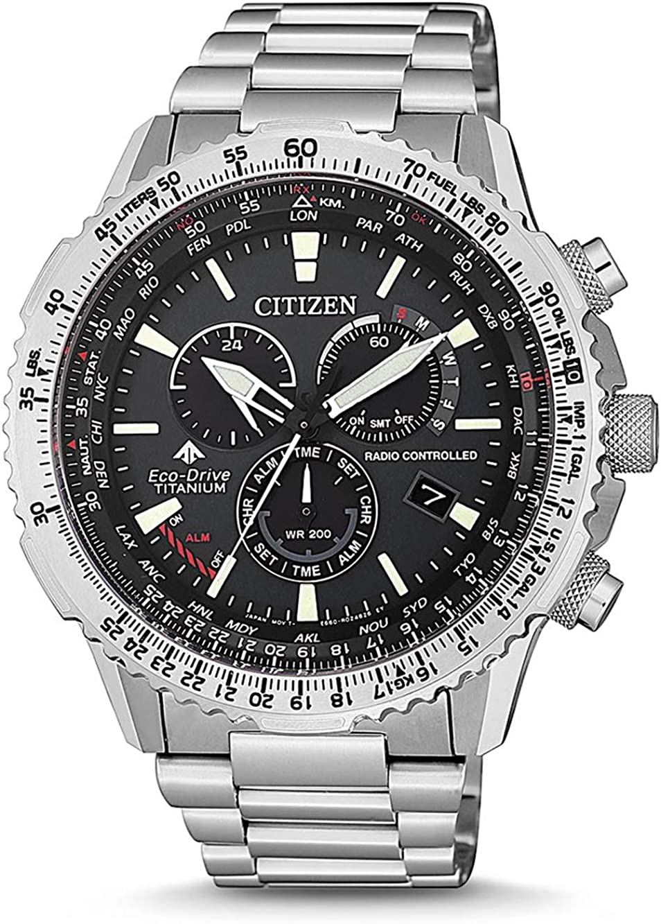 Reloj Citizen Radiocontrolado Crono Pilot Super Titanium