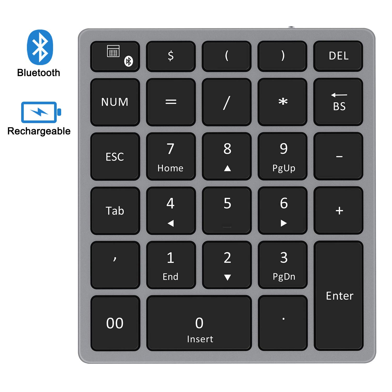 Bluetooth Numeric Keypad, Jelly Comb Rechargeable Portable Wireless Bluetooth 28-Key Number Pad with Multiple Shortcuts for Tablet, Laptop, Notebook, PC, Desktop and More