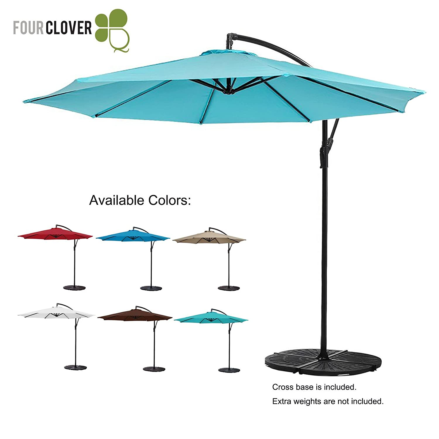 FOUR CLOVER 10 Ft Patio Umbrella Offset Hanging Umbrella Outdoor Market Umbrella Garden Umbrella, 250g/sqm Polyester, with Cross Base and Crank (Turquoise) B074YB99GG