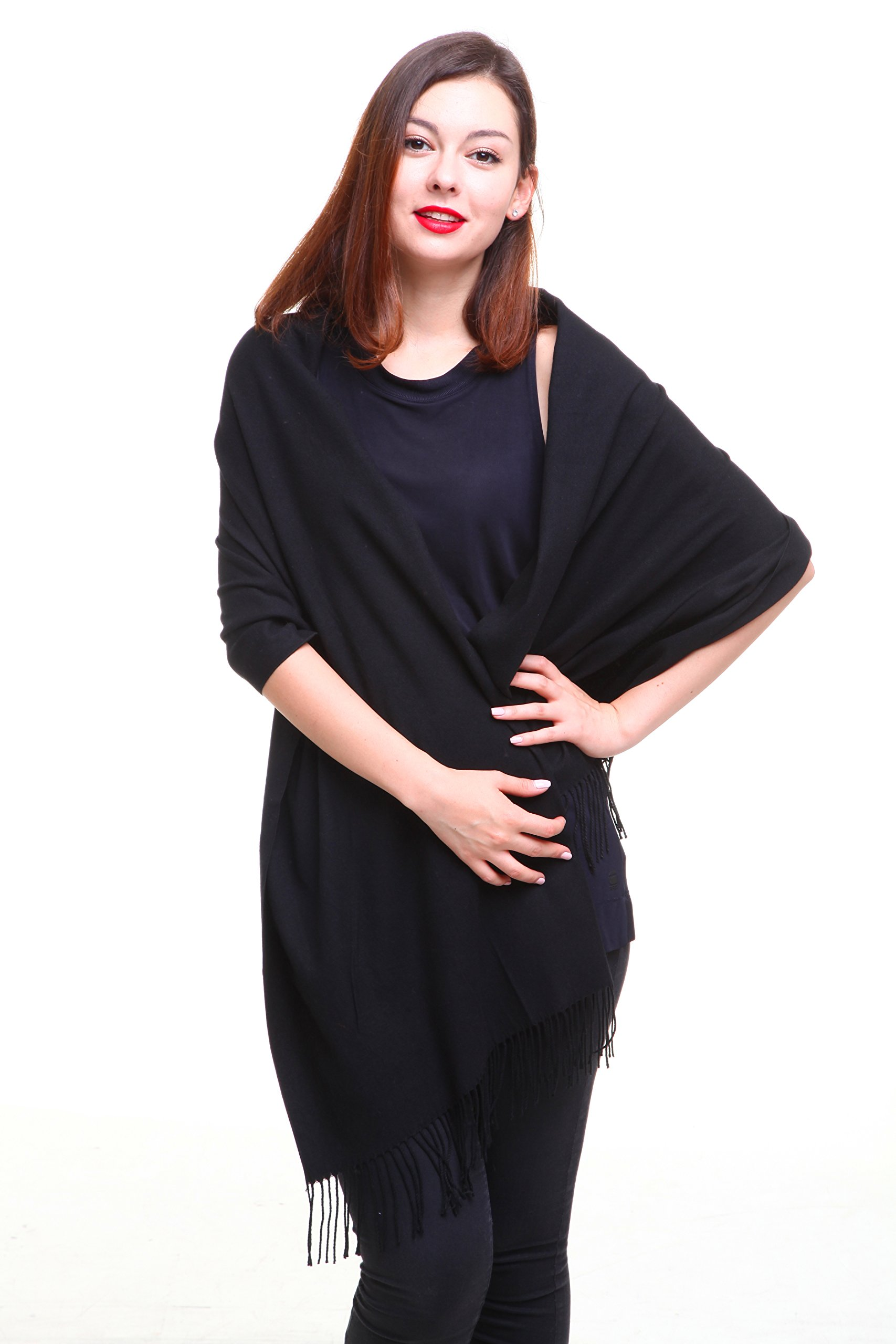 REEMONDE Womens Super Soft Long Shawl Solid Colors Warm Pashmina Big Scarf (Black) by SUNIN
