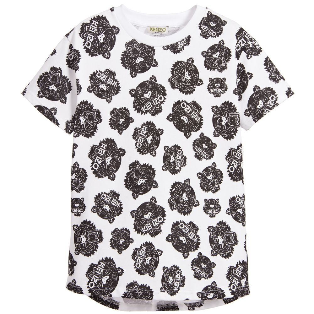 Kenzo Kids White and Black All‑Over Tiger Print T‑Shirt (16A) by Kenzo Kids