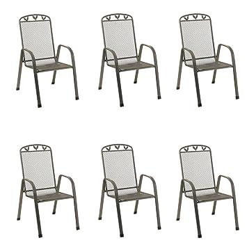 Stapelstühle Toulouse 6Stück Streckmetall Gartenstühle Stapelstuhl  Gartenmöbel