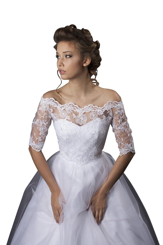 Oberteil Bolero aus Spitze für Brautkleid / Hochzeit - E403: Amazon ...