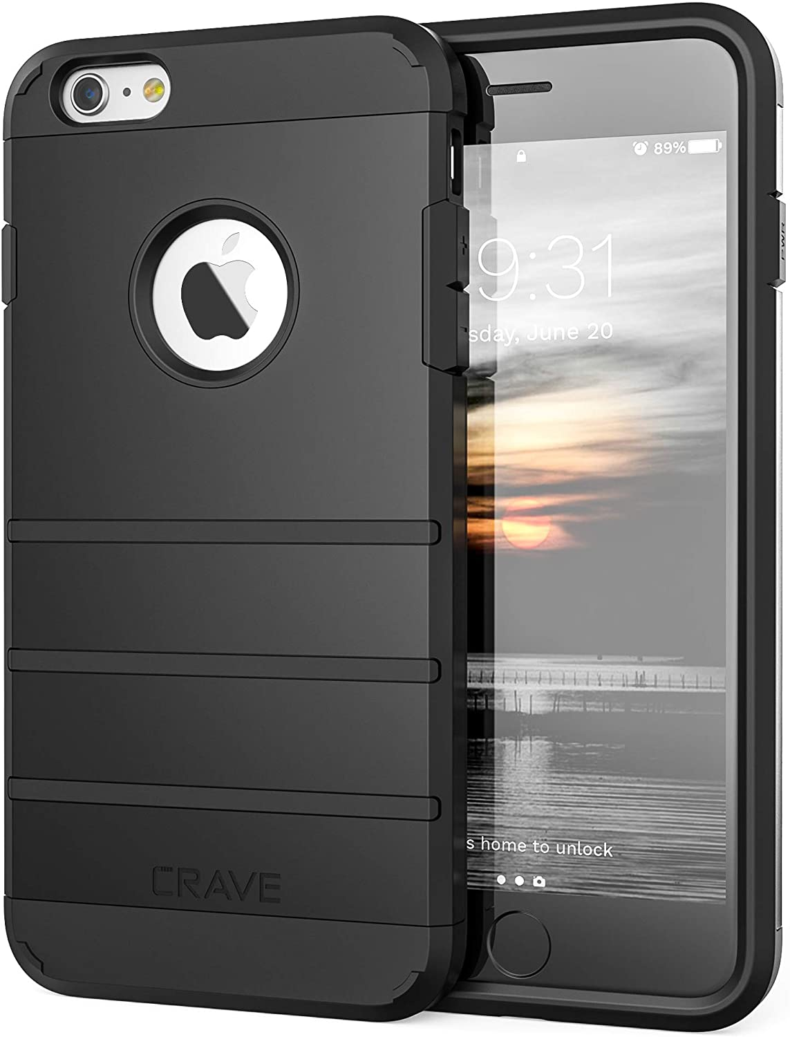Crave iPhone 6S Plus Case, iPhone 6 Plus Case, Strong Guard Protection Series Case for iPhone 6 / 6s Plus (5.5 Inch) - Black
