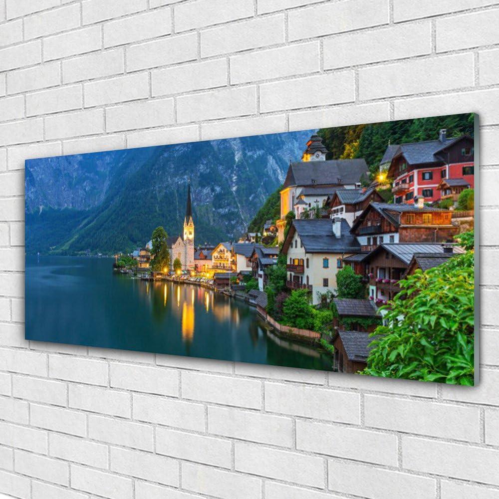 Photo décorative panoramique Tableau Nature Chute Deau Forêt Image Impression sur verre de Tulup 125x50 cm