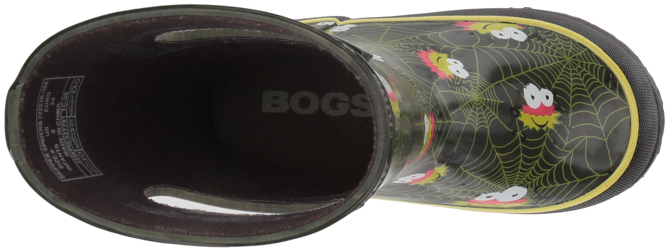 Bogs Kids' Skipper Waterproof Rubber Rain Boot for Boys and Girls,Smiley Spiders/Dark Green/Multi,11 M US Little Kid by Bogs (Image #8)