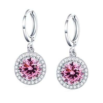 62b8106be GULICX Ladies Jewellery 18k White Gold Plated Zircon Vintage Style Round  Earrings Leverback Dangle Pink: Amazon.co.uk: Jewellery