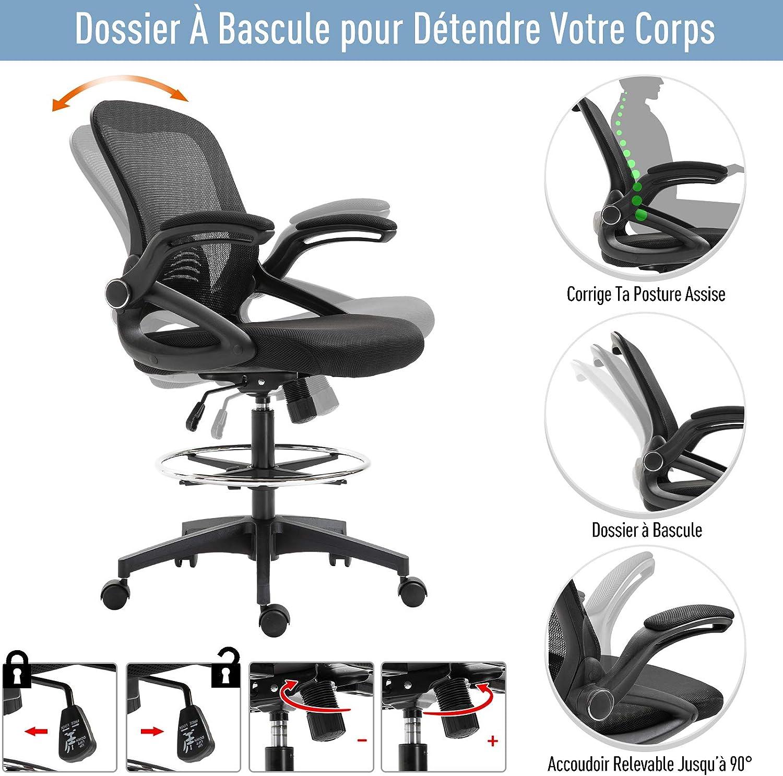 64L x 59l x 104-124H cm pivotant 360/° Maille Respirante Noir Homcom Fauteuil de Bureau Chaise de Bureau Assise Haute r/églable dim