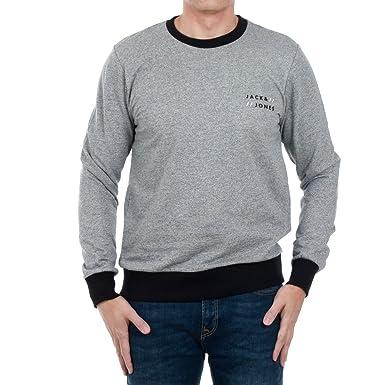 Jack Jones Large, Light Grey Melange Mens Round Neck Sweatshirt Made of So 1e68f2723c