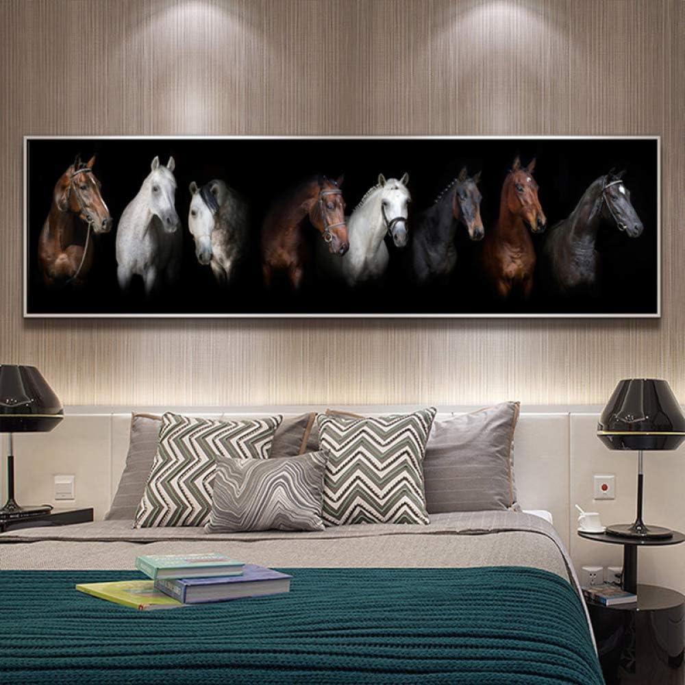 YHZSML Cuadros modulares Pinturas de Caballos Arte de la Pared para Sala de Estar Impresión de la Lona Animal Wall Cuadros Decorativos Carteles e Impresiones Tamaño Grande 50X175CM
