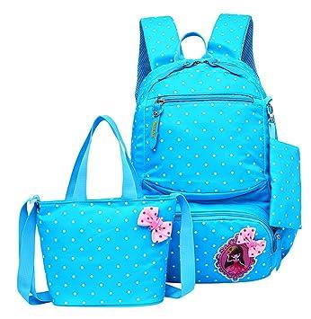 ba977617f9bc JiaYou Girl Boy Cute Lunch Bag Purse/Pencil Bag School Backpack 3 Sets  (20L, StyleC Blue)
