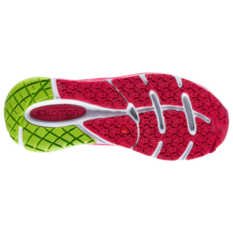 Salomon Women's Sense Pulse W Running Shoe, Papaya-B/Lotus Pink/Granny Green, 7 B US
