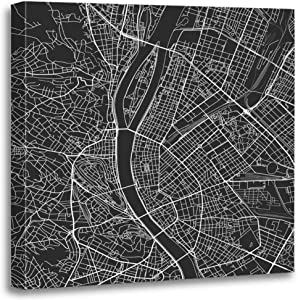 Benxii Map Canvas Print Black and White City Budapest Well Organized Separated Layers Wooden Framed Wall Decor Art Painting Home Artwork Bedroom Living Room Easy to Hang 16x16 Inches