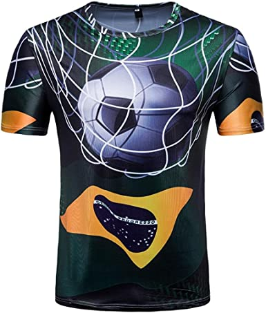 WINWINTOM Verano Casual Camisas De Hombre, Moda Ajustado Camisetas, Hombre 3D Camiseta Fútbol Impresión Manga Corta Verano Tops Blusa por Copa del Mundo (Patrón O): Amazon.es: Ropa y accesorios