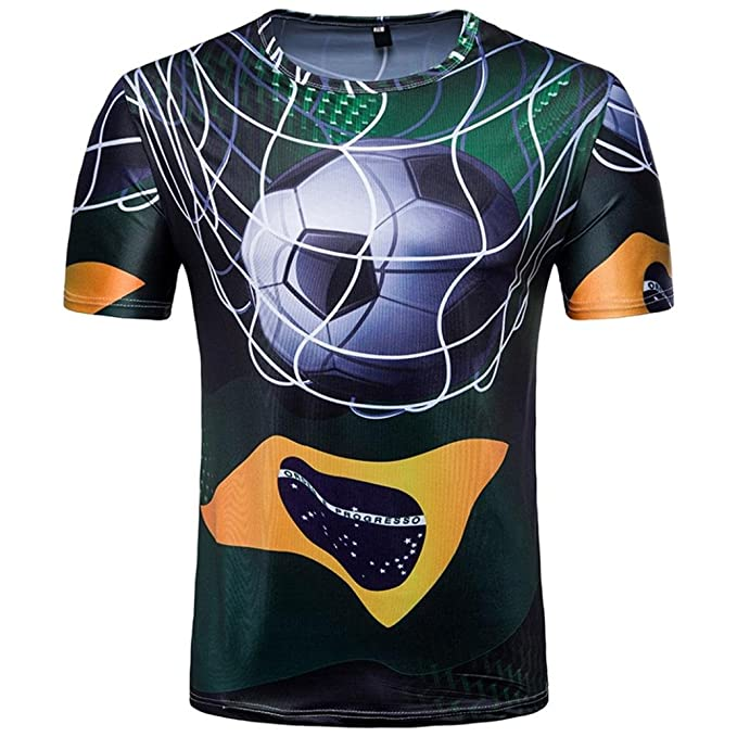 WINWINTOM Verano Casual Camisas De Hombre, Moda Ajustado Camisetas, Hombre 3D Camiseta Fútbol Impresión
