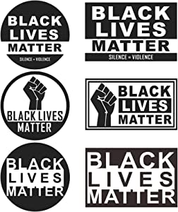 ILamourCar Black Lives Matter Fist Logo Bumper Sticker Car Magnet Window Sticker Laptop Decal for T-Shirts Bottle Silence Violence Political Sign, 6 Pack (3 Round 3 Square)