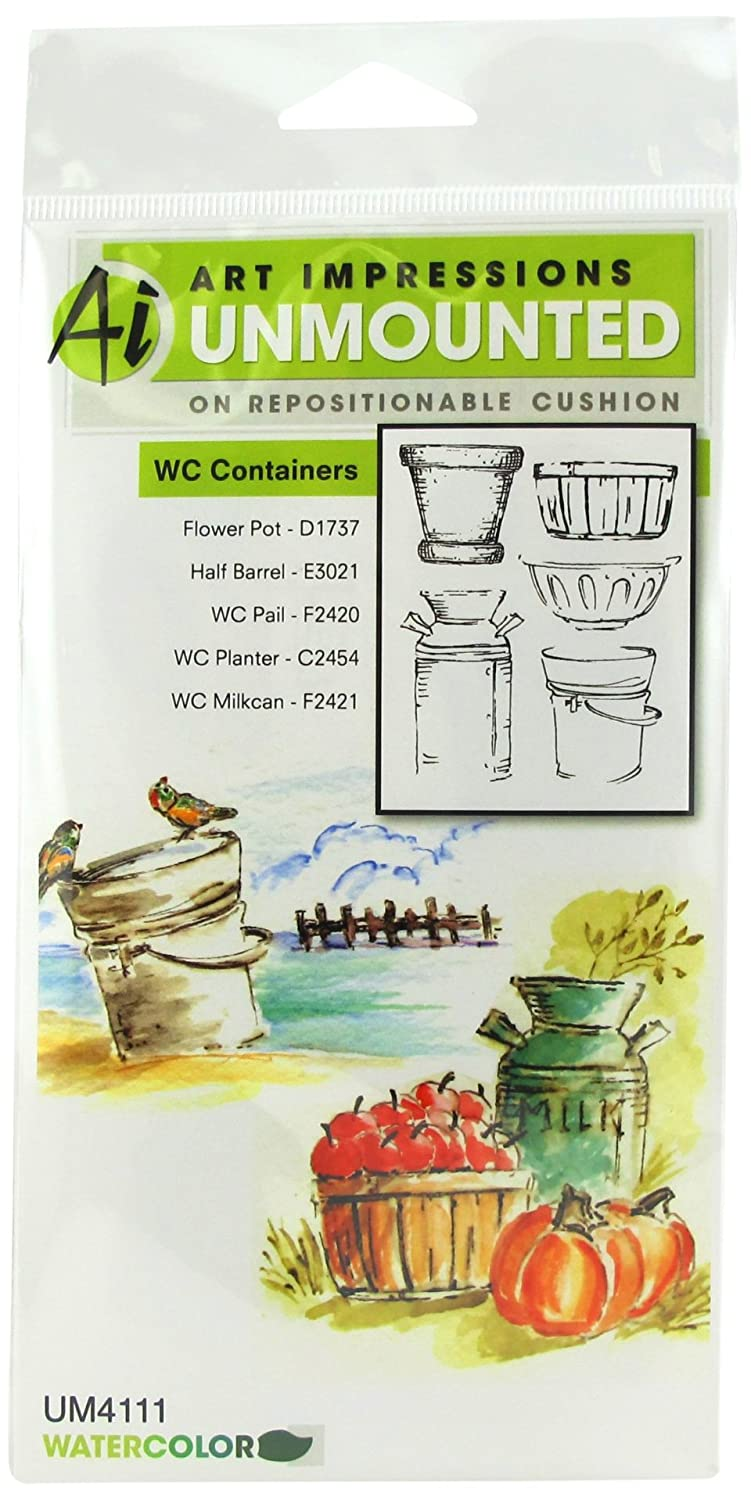 Art Impressions 4111 Watercolor Series WC Containers Rubber Stamp